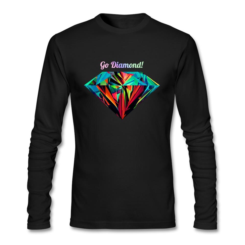 Slim Fit Go Diamond T Shirt Mens Long Sleeve O-Neck Cotton Plus Size Clothing Hot Selling(China (Mainland))