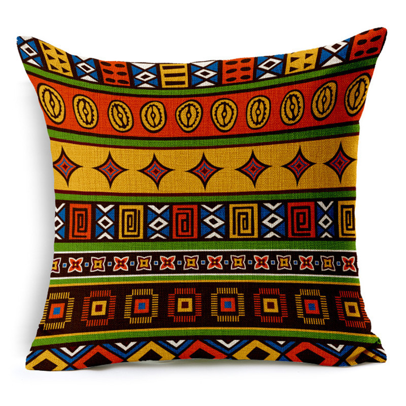 African National Stripe Bohemian Style Geometric Home Decorative Throw Pillow Covers Linen Ethnic Cushion Cover Case