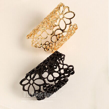 2014 Romantic Vintage Gold Plated Black Alloy Metal Trendy Hollow-out Decorative Pattern Flower Brand Ring For Womens Jewelry(China (Mainland))