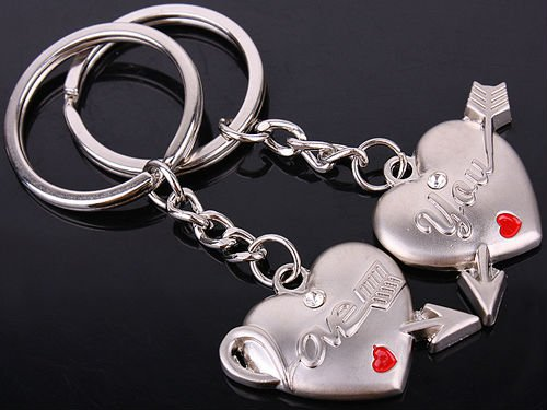 wholesale 2013 innovative jewelry keychain/couple love heart keyrings for promotion gift/210(China (Mainland))