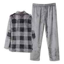 Winter song Riel fashion plaid flannel long sleeve pajamas for men and women couple home service