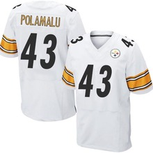 Men's #43 Troy Polamalu Elite White Football Jersey 100% Stitched(China (Mainland))