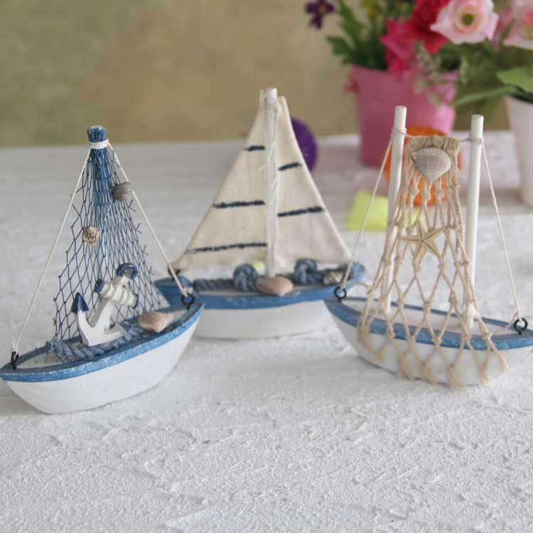 3pcs lot mediterranean style wooden mini net ship sailing for Ship decor home