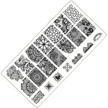 1 Sheet Lace&Flowers Series Stamping Nail Art Image Plate, 6*12cm Stainless Steel Template Polish Manicure Stencil Tools BC-10