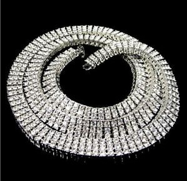 Fashion Iced Bling Mens Silver/Gold Plated 30 inch 3 Row Simulated Diamond Hip-Hop Chain Necklace Set Men - Your lohas time store
