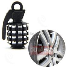 10 pcs Aluminum Black Car Tire Air Valve Caps Grenade Design for Motorcycle Bicycle Bike #3544*10(China (Mainland))