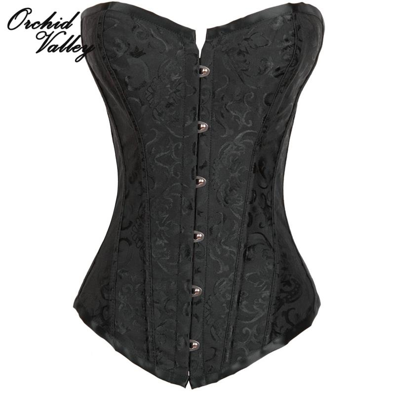 Black Boned Overbust Gothic Clothing Sexy font b Waist b font Training Corset And Bustiers Hot