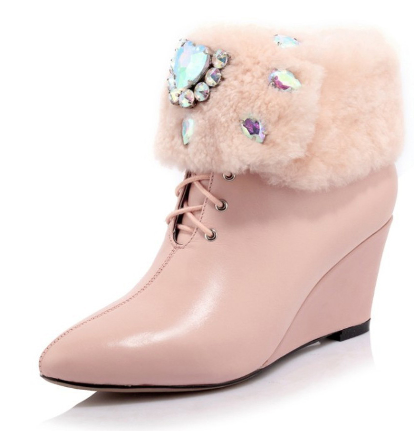 Women Shoes Plushed Rhinestone Genuine Leather Leather Goat Wool Cashmere Fur Ankle Boots Winter Warm Snow Boots Wedge Heels(China (Mainland))