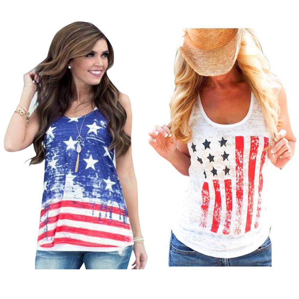 2016 Women Summer American Us Flag T Shirt Round Neck