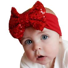 Meilleure offre 2015 mode élastique enfants bébé filles bandeau mignon paillettes arc bébé fille cheveux accessoires pour bébé cadeau 1 pc(China (Mainland))