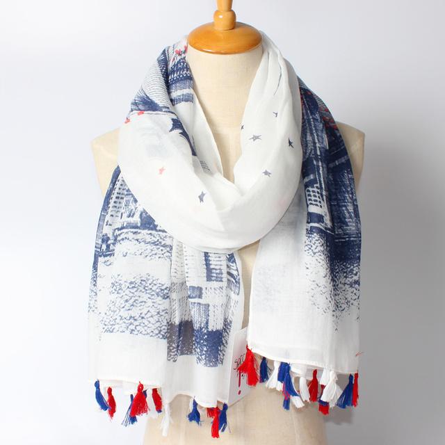 2016 Новое Прибытие Зимняя Мода Женщины Евро Марка Длинные Большой Мост Звезда Печатных Шарф Красочные Кисти Шали