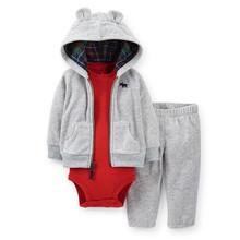 Carters Baby Boys Sets Autumn Roupas Infantis Menino Cotton Hooded Cardigan Bodysuit and Pant 3pcs Clothing