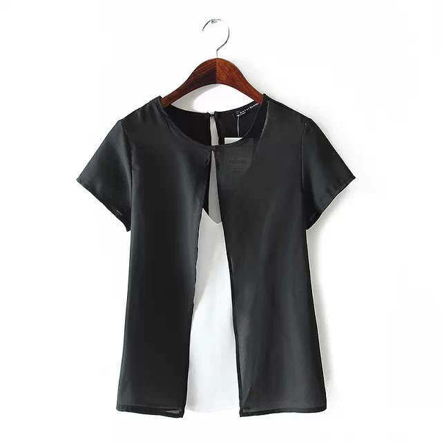 2015 summer women's new O neck chiffon double fake two piece hollow short sleeve blouse - Chic Classic Store store