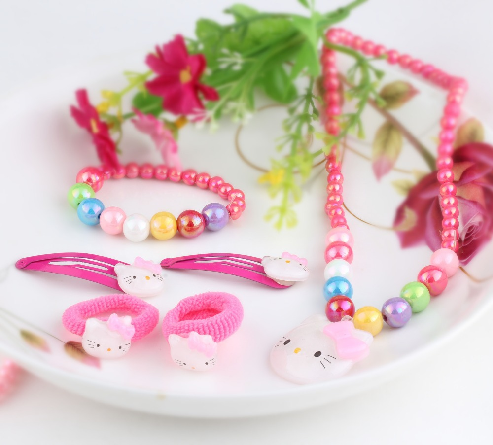 1set =6pcs hello kitty jewelry necklace bracelet hair band Baby Hair Clips Children Hair Accessories cute jewelry accessories(China (Mainland))