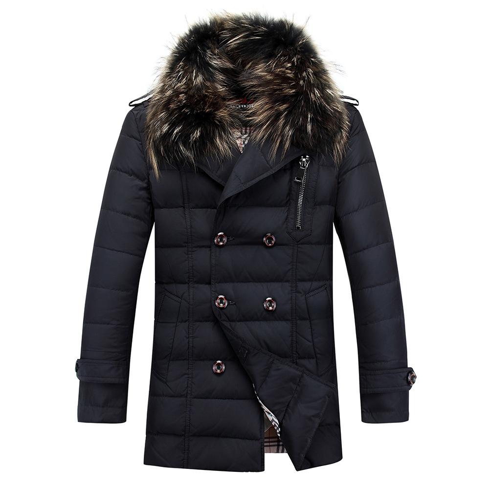 2015 Thick Warm Duck Down Winter Jacket Men Waterproof Fur Collar Winter Parkas Coat Outdoor Down