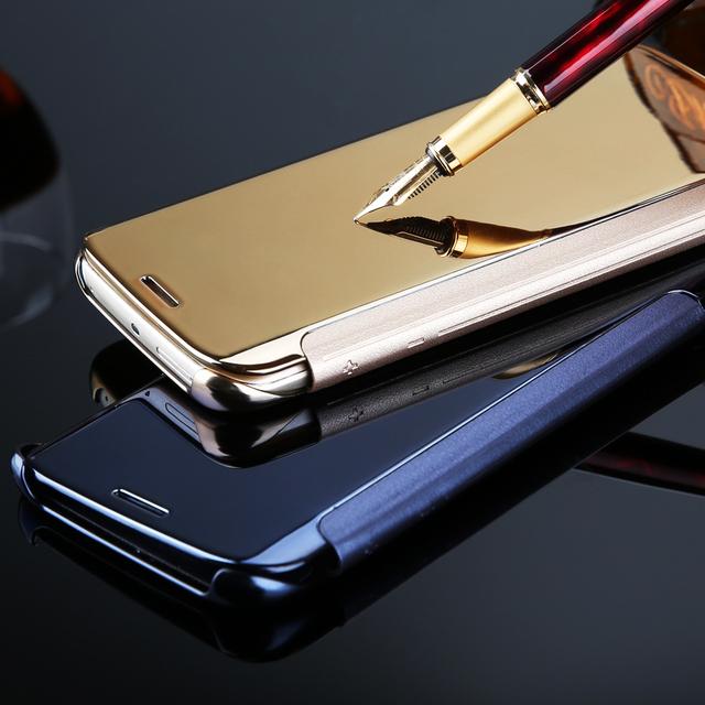 Последним роскошные четкое представление зеркало флип гальванических телефон чехол для Samsung Galaxy S7 / S7Edge / S7 края плюс трудно футляр + свободной пленки
