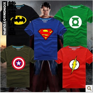 NEW Superhero Costume superman Iron Man Flash Batman Green Lantern T-Shirt Halloween Avengers GI Joe Ghost Busters Hulk Thor(China (Mainland))