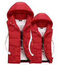 2015 autumn and winter women's family cotton down vest men's hooded solid color plus size big boy children's waistcoat 2XL(China (Mainland))