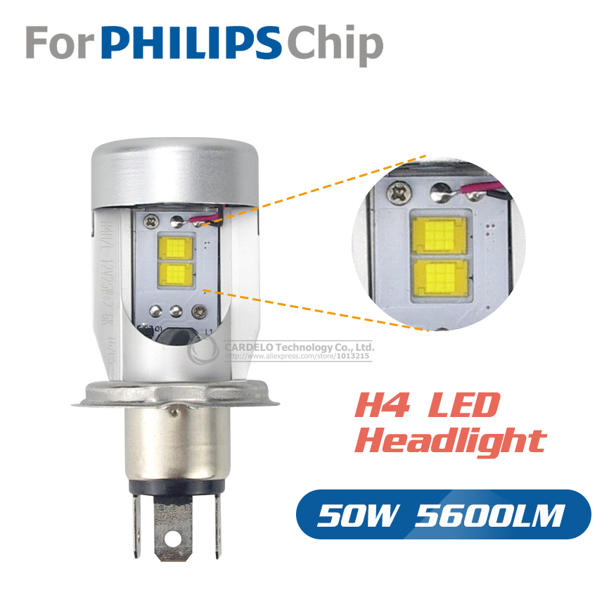 Newest Plug & Play Car H4 For Philips Chip Led Headlights hi lo 50W 5600LM Auto Lamp LED Light Bulb DRL 12V/24V Light Source(China (Mainland))