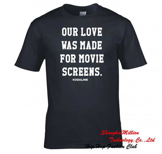 "Allover KODALINE ""OUR LOVE WAS MADE FOR MOVIE SCREENS"" T SHIRT NEW Funny Tee 100% Cotton(China (Mainland))"