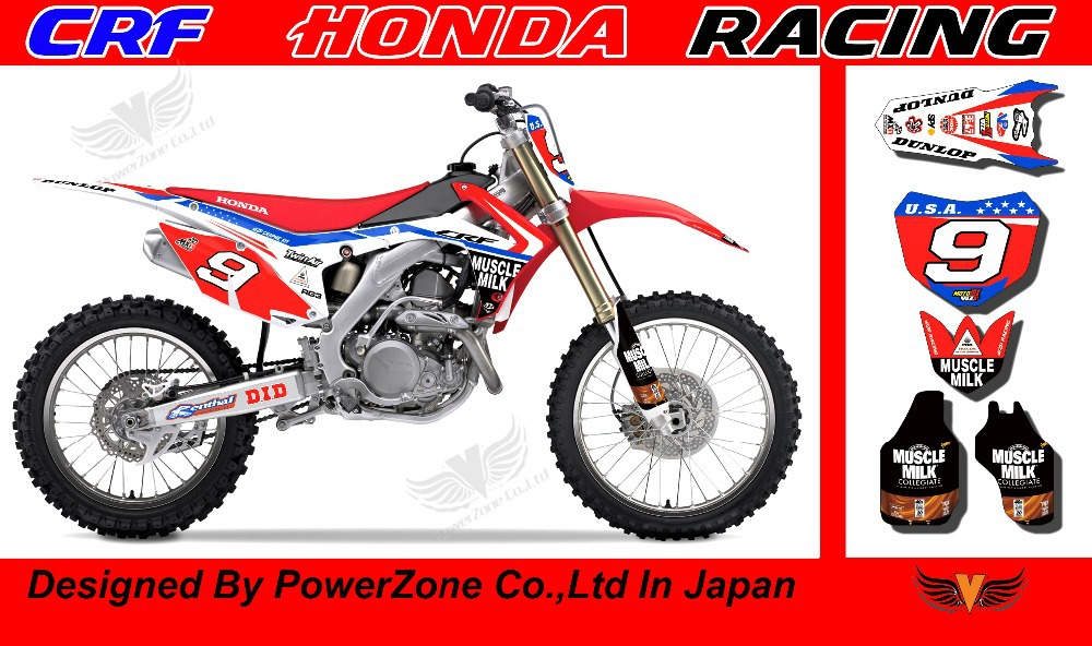 CRF 250 CRF 450 2014 MUSCELE MILK Team Graphics Backgrounds Decals Stickers Motor cross Motorcycle Dirt Bike MX Racing Parts(China (Mainland))