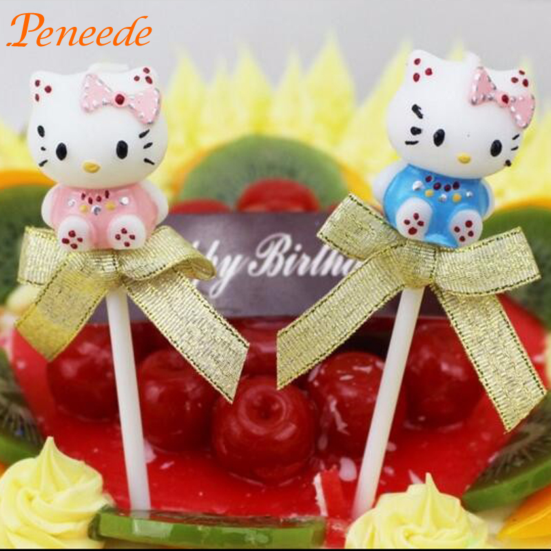 5Pcs 2016 Kids Birthday Party Decoration Cake Candles Cute Cartoon Hello Kitty Girl/ Boy Party Supplies Cake Topper Accessories(China (Mainland))