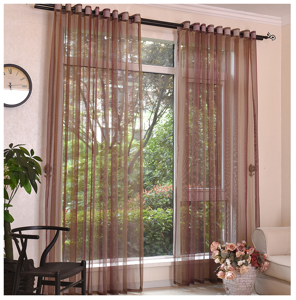 Tulle curtains for living room the window treatment brown for Kid curtains window treatments