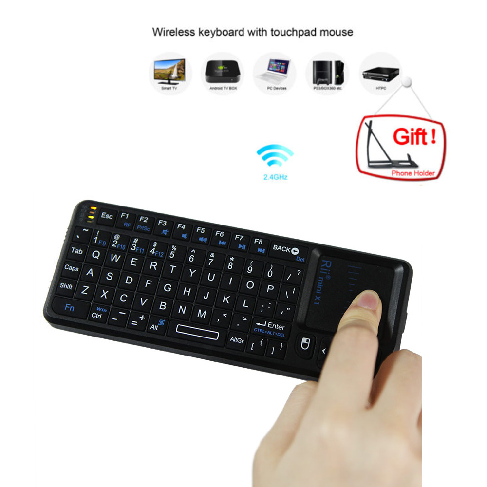 US STOCK 3 in 1 Rii mini X1 Handheld 2.4G RF Wireless Keyboard Qwerty With Touchpad Mouse For PC Notebook Smart Google TV Box(China (Mainland))