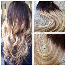 Hot Sale Hair Products DHL Free Shipping 6A Straight Hair Weft Ombre Color(T4/613) Brazilian Clip In Human Hair Extension(China (Mainland))