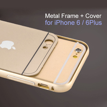 Brand New Arrive 2015 Phone Case 4.7in for iPhone 6 Case 0.55mm Metal Aluminum Bumper Frame+Cover Case 5.5in for iPhone 6 Plus(China (Mainland))