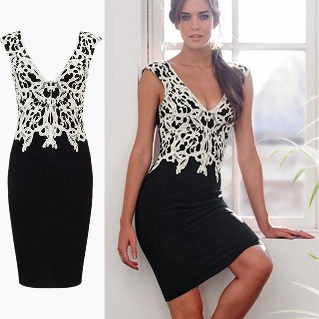 Горячая распродажа 2016 женщины лето сексуальная офисное платье шеи свободного покроя ну вечеринку Vestidos Femininos аппликация контрастного рукавов кружевном платье