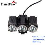 Waterproof TrustFire 1200LM 3*CREE XM-L2 LED Bicycle Light Bike Lamp   4000mAh 18650 Battery Pack 4-Mode TR-D012