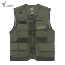 Summer Mesh Men's Vest with Multi-pockets Quick Dry Sleevless Jacket Waistcoat Multifunction Outdoor Hunting Travel Clothes 882(China (Mainland))