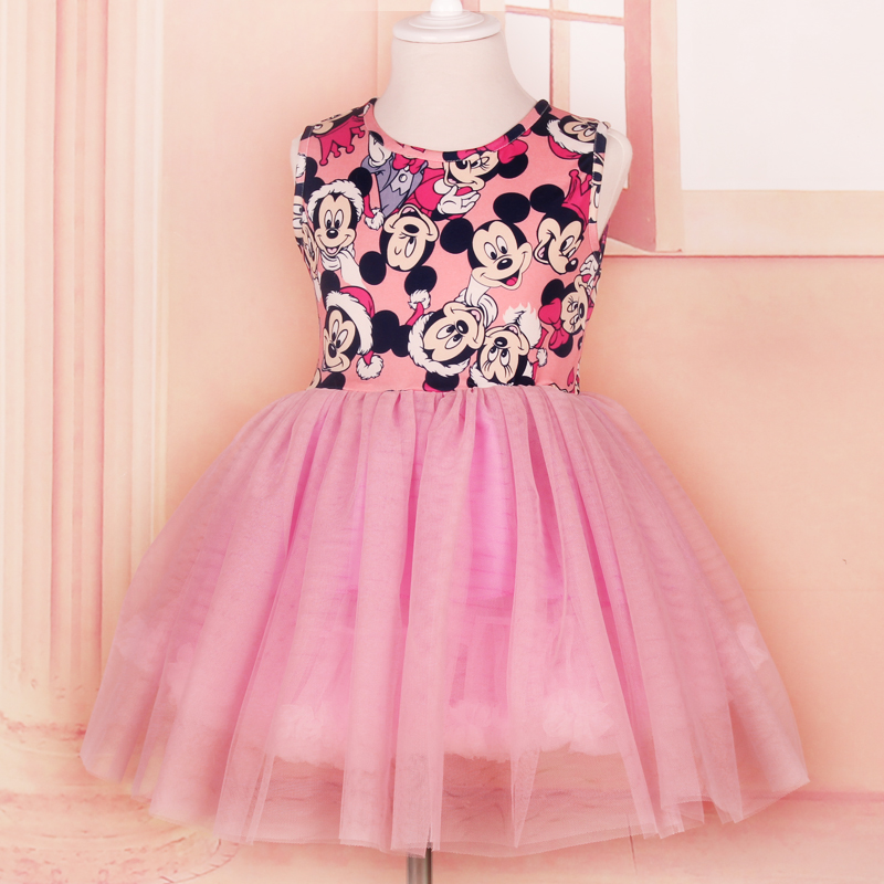 2016Summer Girl Dress Hello Kitty Minnie Mouse Children Clothing Baby girl clothes 2-10 Princess Party costume dress(China (Mainland))