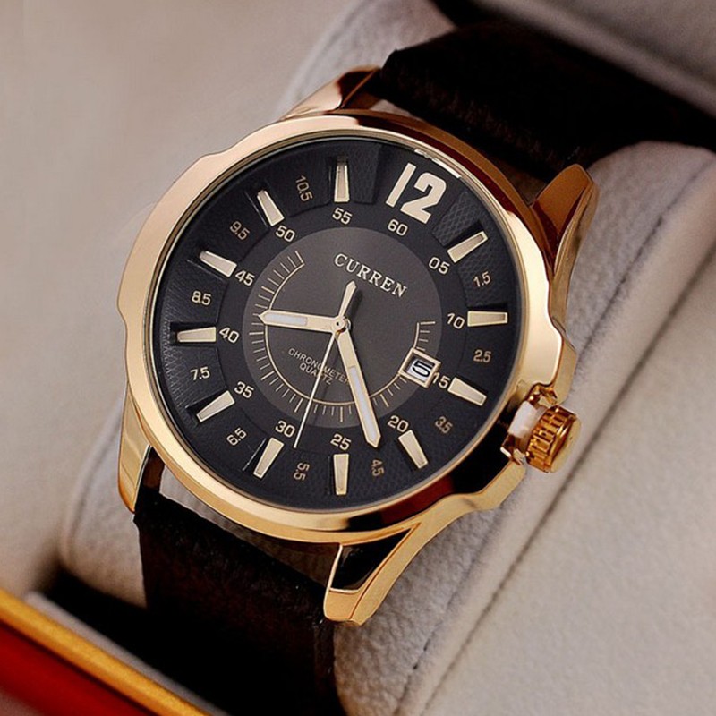 2015 Casual Curren 8123 Fashion Watch leather strap Men's Watches Luxury brand Sports Quartz Wristwatches men gift  -  Mia shop store