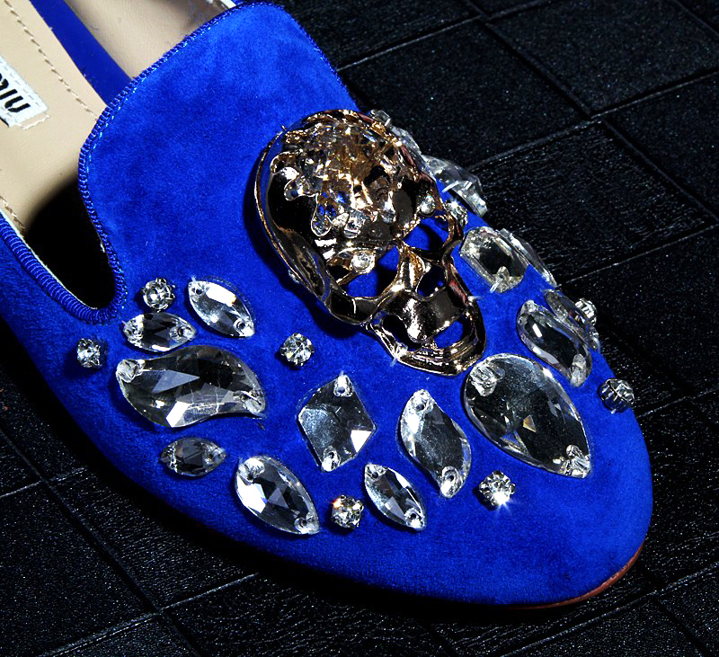 free hongkong post~2 COLORS GENUINE LEATHER DIAMOND SKULL FLAT SHOES F333<br><br>Aliexpress