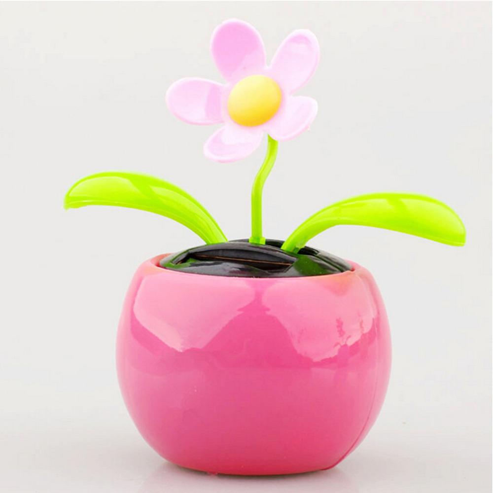Colors Random Plastic Crafts 1PCS Home Car Flowerpot Solar Power Flip Flap Flower Plant Swing Auto Dance Toy(China (Mainland))