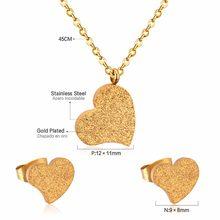 LUXUKISSKIDS מכירה לוהטת לב בצורת תליון CZ שרשרת ועגילי סט תכשיטי עבור נשים עם משלוח שרשרת(China)