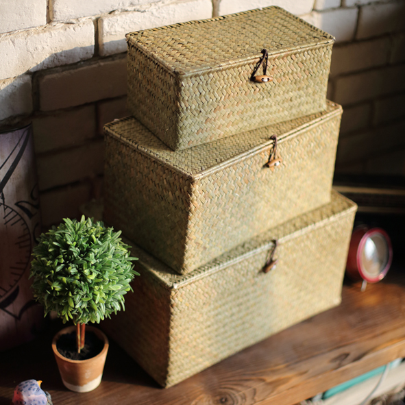 Storage box natural straw braid buttons lid set box storage clothing boxes miscellaneously(China (Mainland))