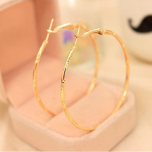 Fashion Big Circle Earrings Elegant Silver-plated Golden Plated Hoop Earrings for Women Jewelry(China (Mainland))