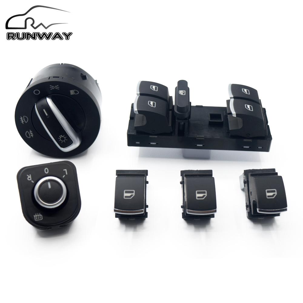 New mirror/headlight/Window Switch for VW Golf MK5 6 Jetta MK5 Passat B6 Tiguan 5ND 959 565A/5ND 959 857/5ND 959 855/5ND941 431B<br><br>Aliexpress