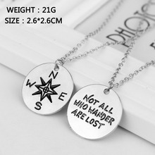"M1089 Compass Silver Necklace "" Not All Who Wander Are Lost "" Letter Pendant Necklace  Jewelry(China (Mainland))"