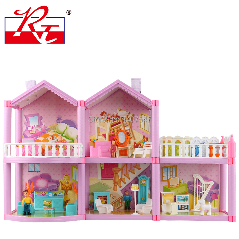 Large Size Diy Dollhouse Miniature Assemble Villa Plastic Miniatura Doll House Furniture
