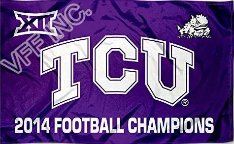 Texas Christian University Flag NCAA 2014 Football Champions Flag 3ft x 5ft Polyester Banner Flying150*90cm Custom flag sport(China (Mainland))