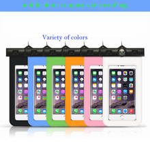 2016 high quality mobile phone pvc cellphone waterproof bag with compass Cell phone waterproof bag for iphone4/4s/5/5s/6/6s case