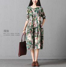 new fashion cotton linen vintage print high waist women casual loose spring autumn dress vestidos femininos 2017 dresses(China)