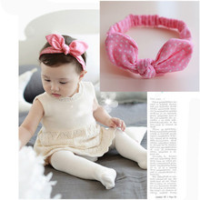 1Pc 2016 New Baby Bow Headbands Cotton Safe And Comfortable Sweet Rabbit Ears Hairband Girls Headwear Kids Hair Accessories TD21