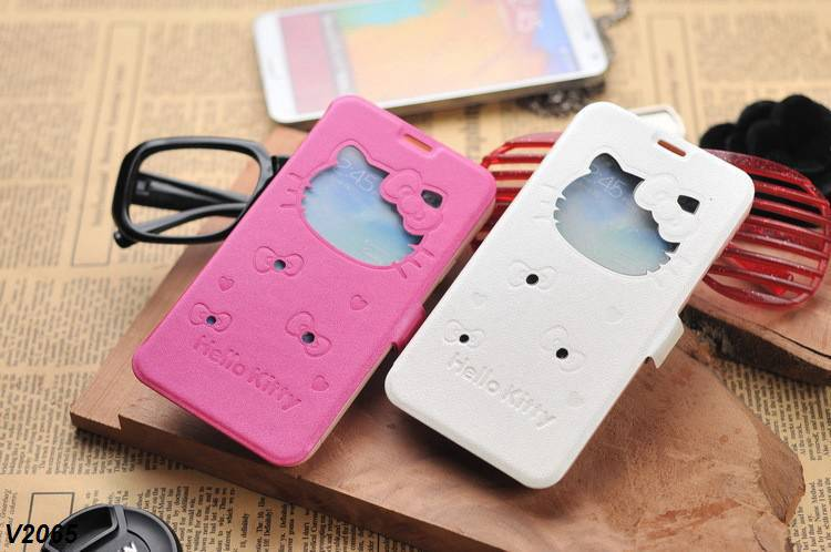 100X Lovely Cell Phone Bag Case for iPhone 6 Hello Kitty Design Bling Silk Skin Leather Stand Wallet Case(China (Mainland))