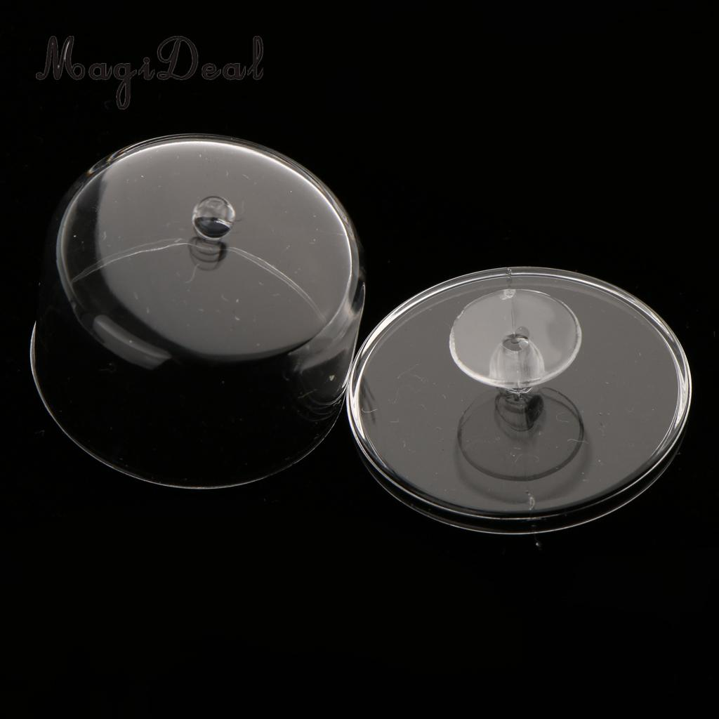 2Pcs Dollhouse Miniature 1/12 Clear Dessert Home Room Kitchen Decor Acc Snack Can Jar Pot With Half Round Lid