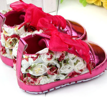 Beauty Baby Girl Shoes Rose Flower Soft Sole Baby Lace Up Shoes Prewalker
